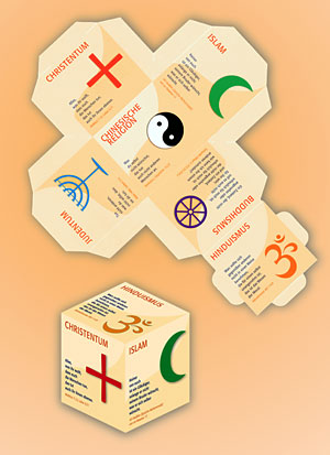 Didaktischer Würfel »Goldene Regel« - 6 Religionen